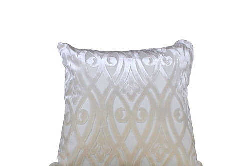 White Wrought Design Cushion Cover Set