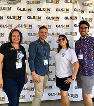Four educators in front of GLSEN Phoenix step-and-repeat at 2018 Back2School Summit.
