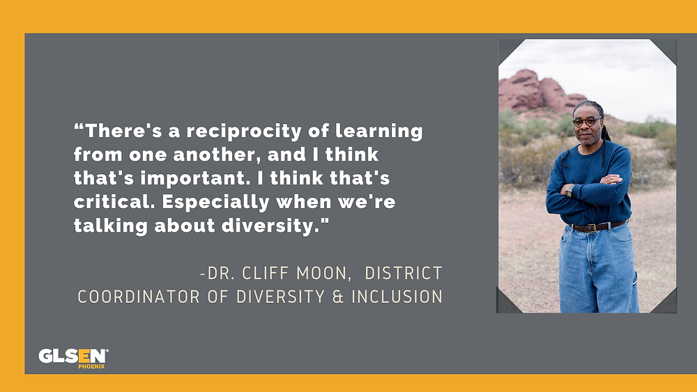 """Quoted text by Dr. Cliff Moon, District Coordinator of Diversity & Inclusion: """"There's a reciprocity of learning from one another, and I think that's important. I think that's critical. Especially when we're talking about diversity."""""""