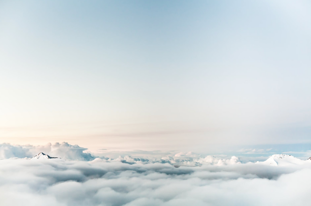 white sky above the clouds