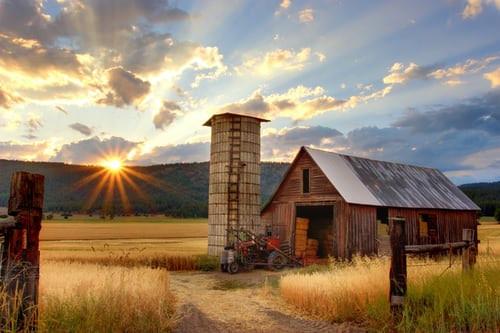 Farm, Sunset
