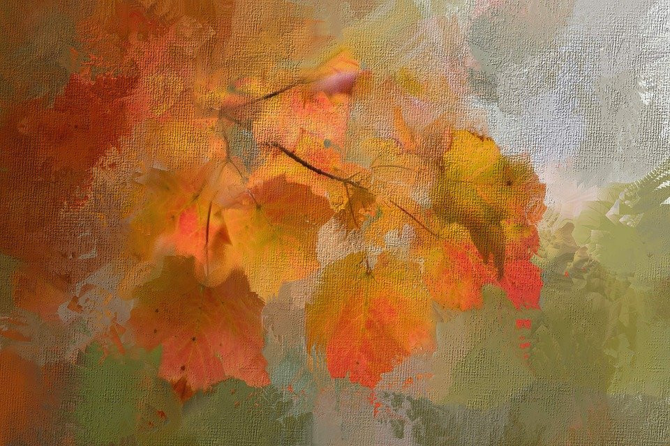 painting of colorful leaves