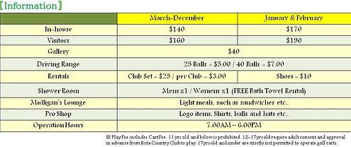 driving range, shower room, golf carts, Gallery, golf balls, free bath towel rental, Pro Shop