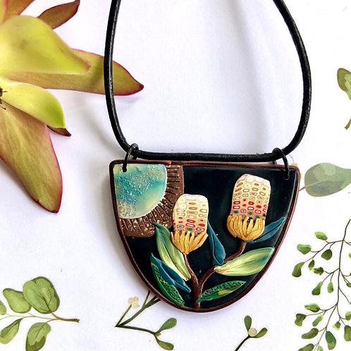 Beautiful banksia pendant necklace