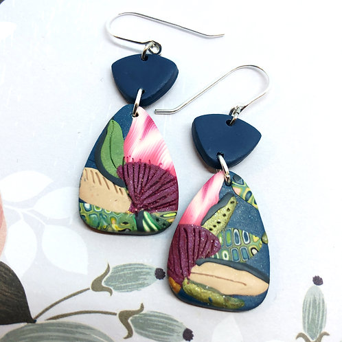Navy and bugundy protea earrings