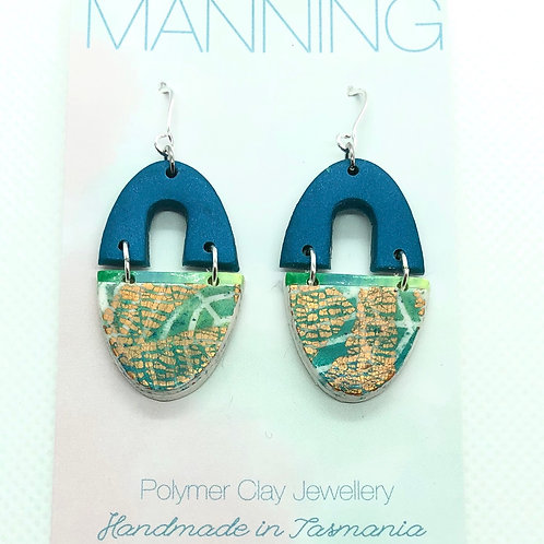 Teal and green palm print gold dangles
