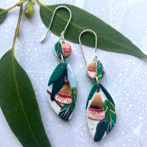Gum nut earrings - multicoloured