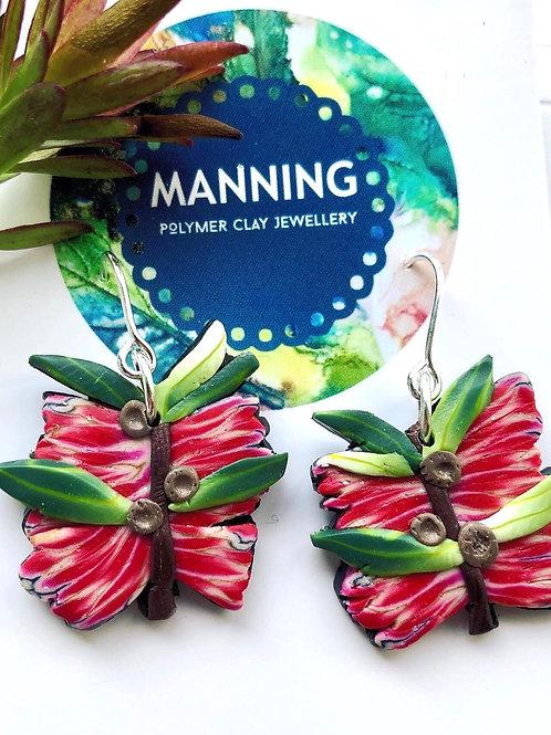 Cheery bottlebrush earrings