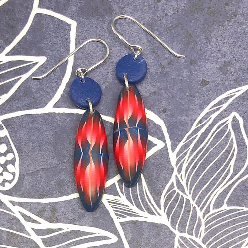 Navy and ruby pattern earrings