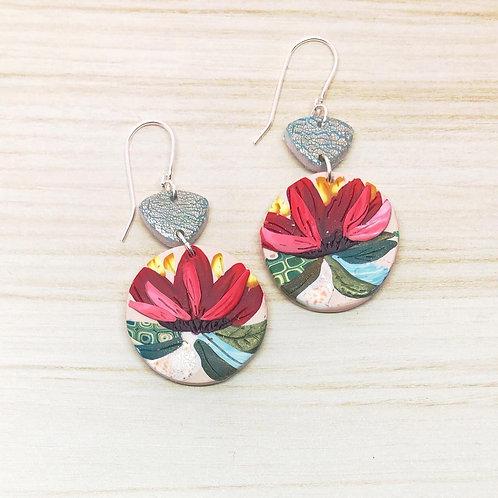Autumn flower disc earrings