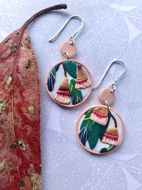 Gum nut earrings - pink discs