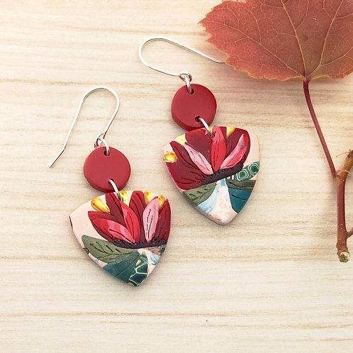 Russet flower earrings