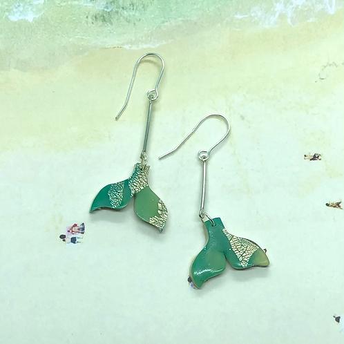 Aqua whale tail earrings