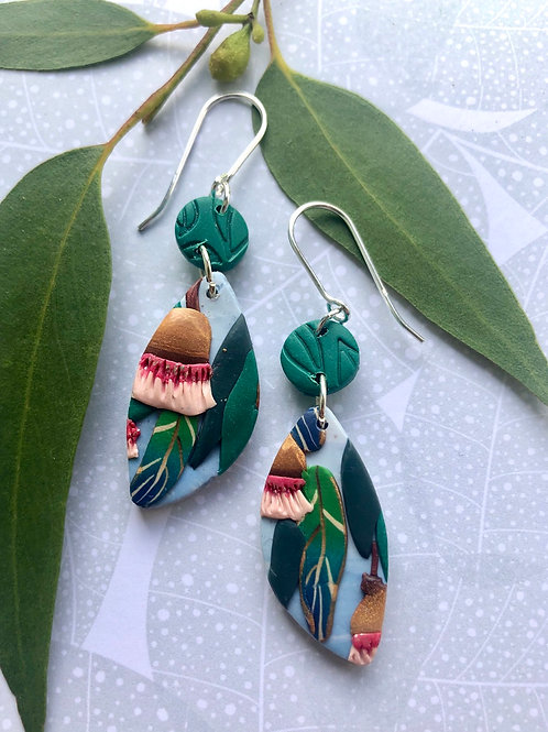 Gum nut floral earrings - green drop