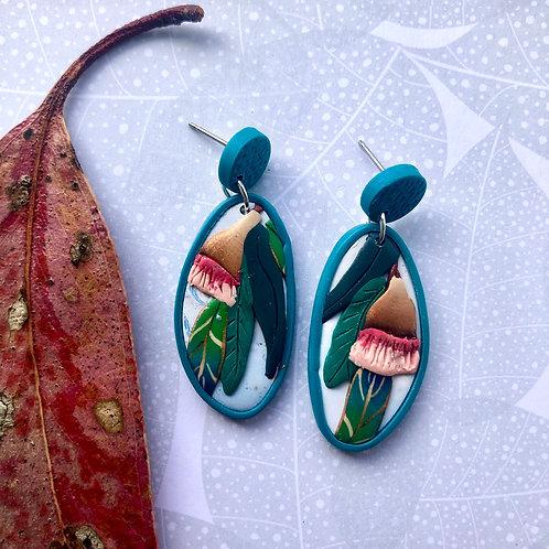 Gum nut flower earrings - teal blue studs