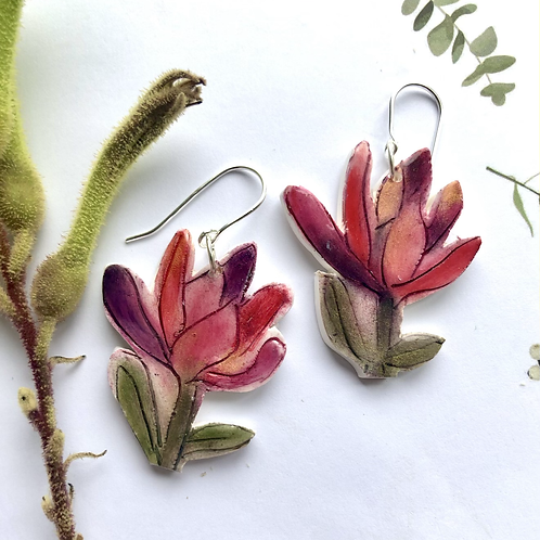 Leucodendron flower earrings