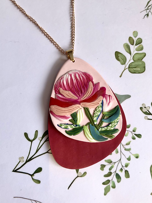 Protea pendant necklace