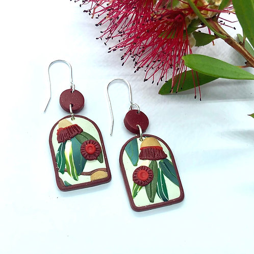 Arch red eucalyptus earrings