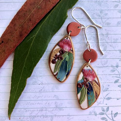Red native flower earrings