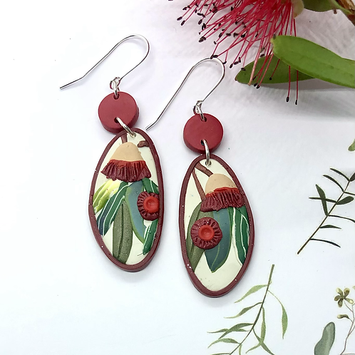 Beautiful red gumnut earrings