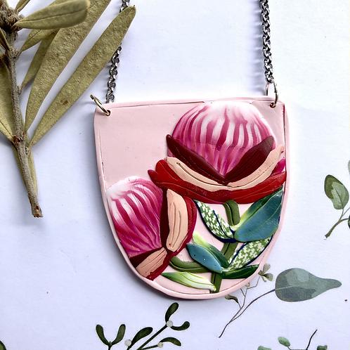 Pretty protea pendant necklace