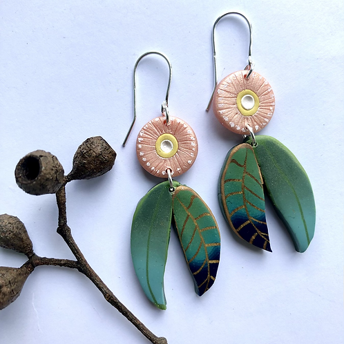 Eucalyptus leaves earrings