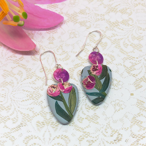 Gorgeous fuschia flower earrings