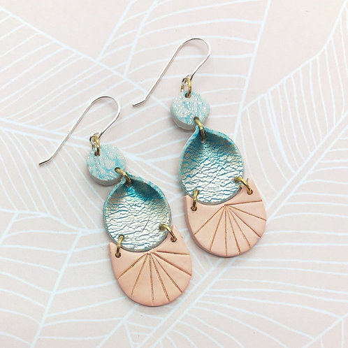 Gorgeous shiny blue and blush earrings
