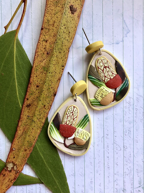 Yellow topped banksia earrings