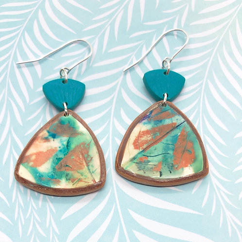Teal and gold leafy earrings