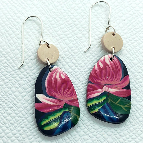 Pink Waratah earrings
