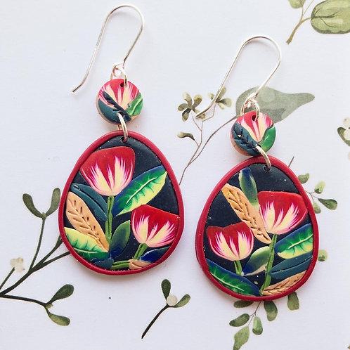 Tulip inspired dangle earrings