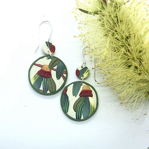 Round ruby gumnut earrings