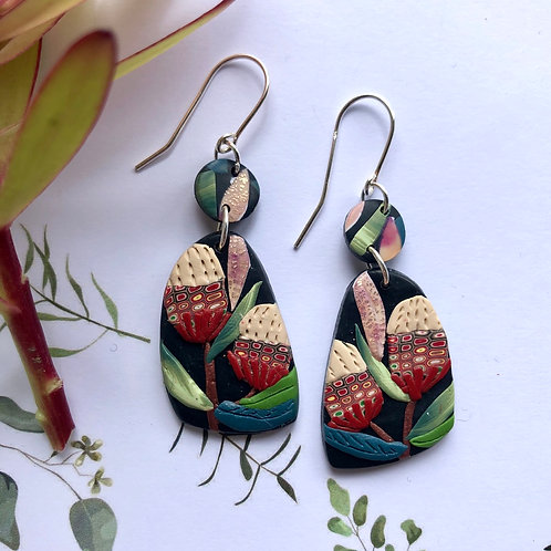 Banksia earrings - 4.5cm length