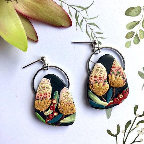 Banksia circle trim earrings