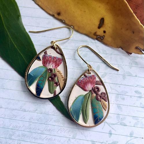 Red native flora earrings