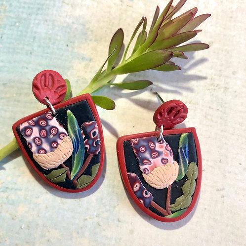 Red tinted banksia earrings