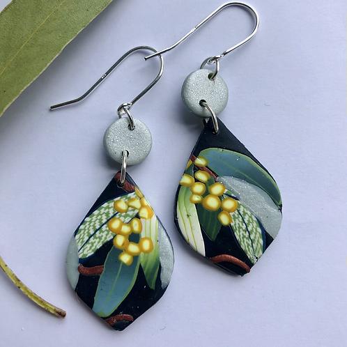 Silvery wattle earrings