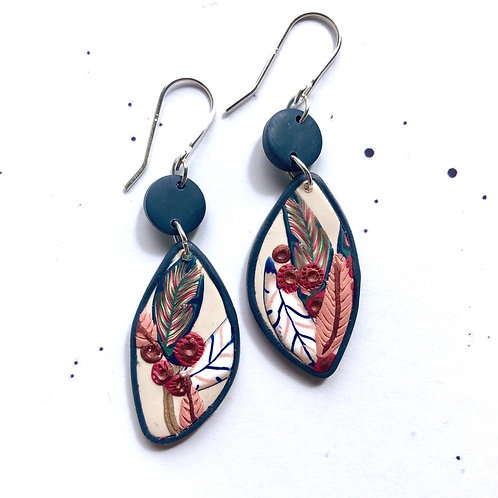 Pretty plum and navy leafy earrings