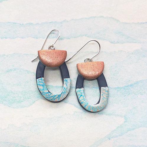 Copper and aqua shimmer earrings