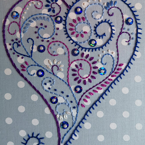 Blue Rustic Heart Embroidery Kit