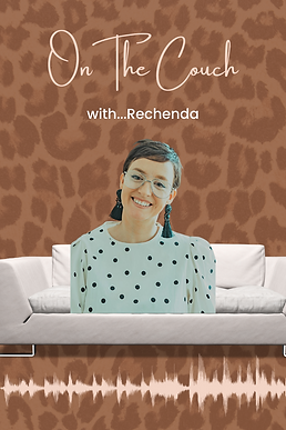 On the couch with Rechenda smith Marketi