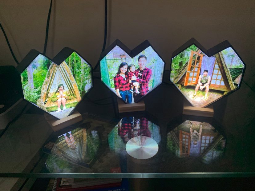 Geometric Heart Personalized Crystal Lamps