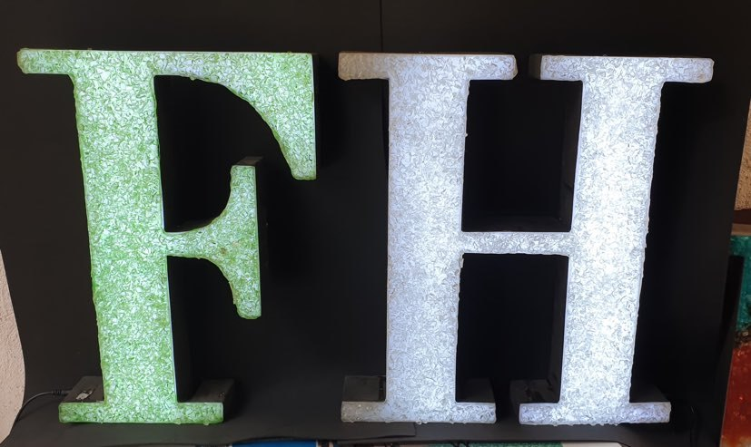 Crystal Letter Light Signages ready to be customized in any color or size