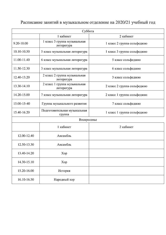 Расписание занятий в музыкальном отделен