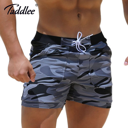Taddlee Brand Sexy Men's Swimwear Spandex Boxer High Rise Cut Trunks