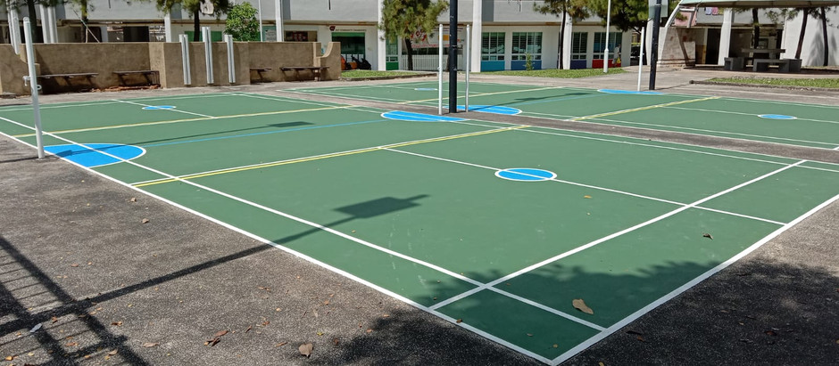 Open Courts at Bedok North permanently painted with our Pickleball Non-Volley Lines