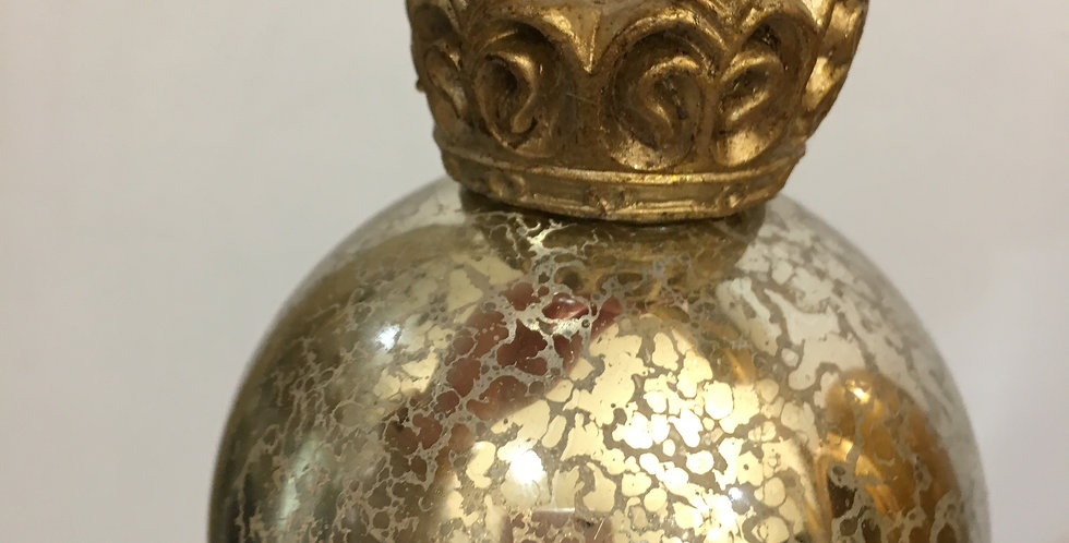 Silver Glass Bauble with Gold Crown
