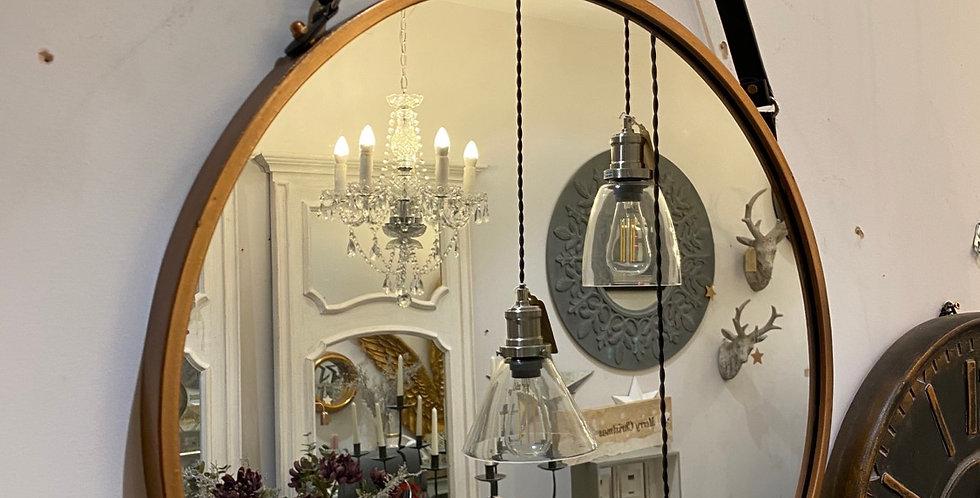 Gold Round mirror with Belt Hanging