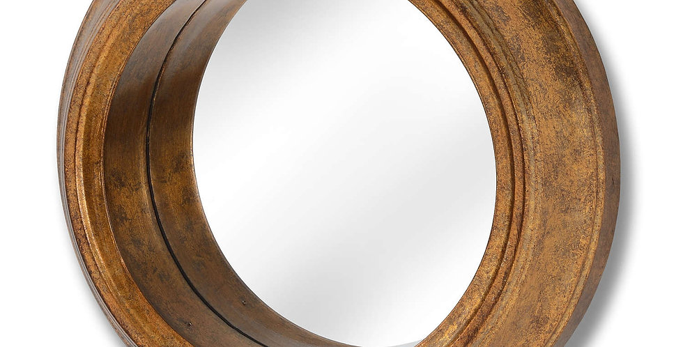 Deep Rimmed Antique Gold Small Mirror